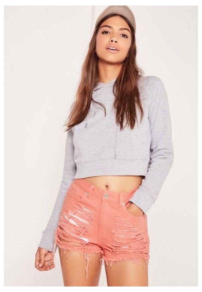 High Waisted Shredded Denim Shorts Pink, Grey
