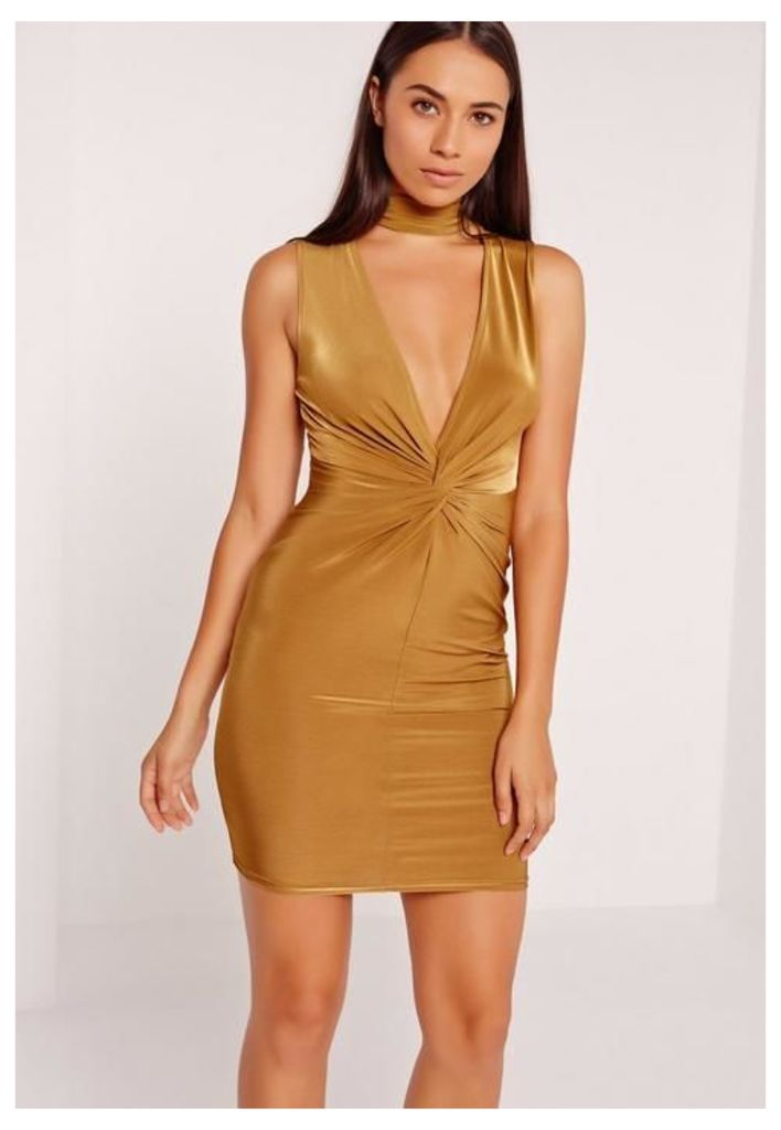 Twist Front Plunge Bodycon Dress Gold, Olive
