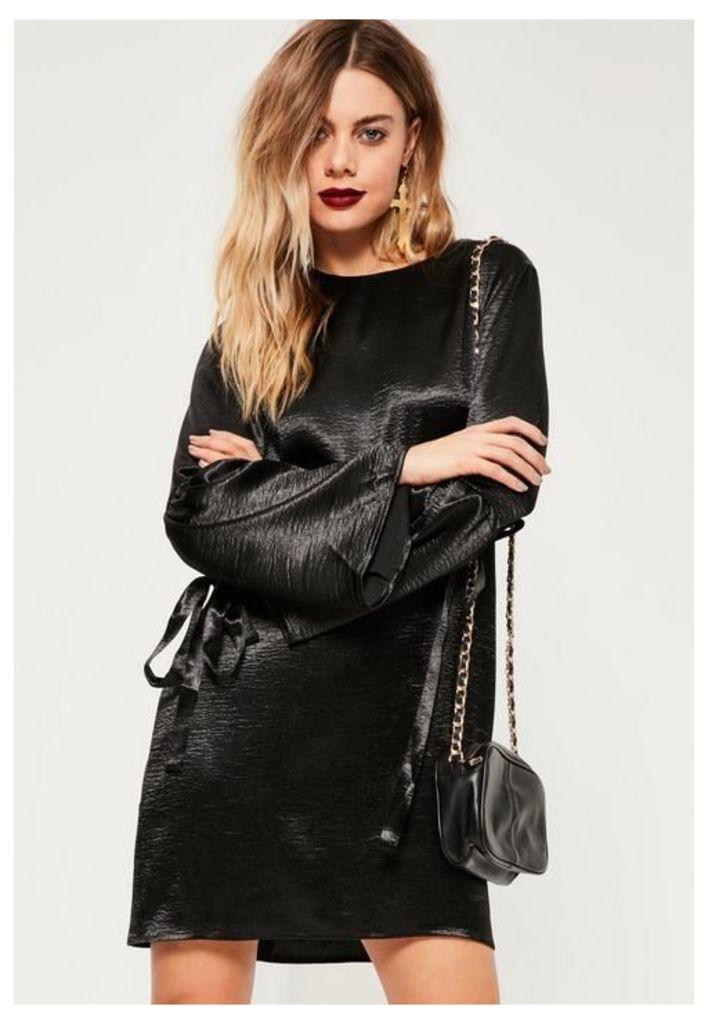 Black Bow Detail Hammered Satin Swing Dress, Black