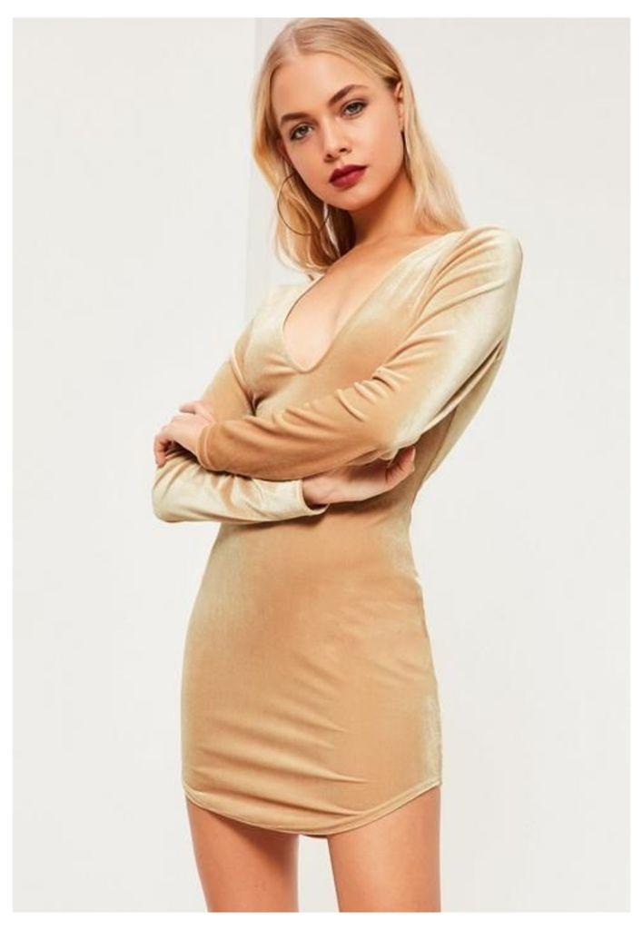 Nude Velvet V Neck Long Sleeve Dress, Beige