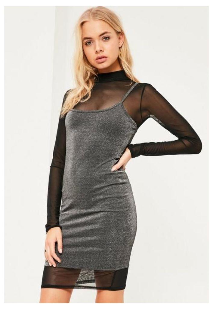 Grey Metallic 2 in 1 high neck dress, Grey