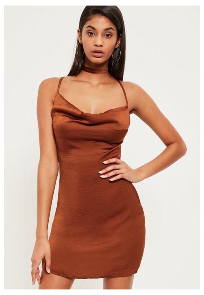 Bronze Silky Cowl Neck Harness Bodycon Dress, Clay