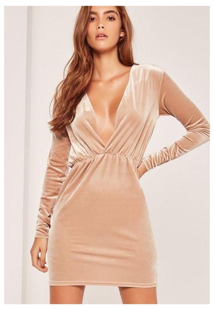 Long Sleeve Plunge Ruched Waist Velvet Dress Gold, Cream