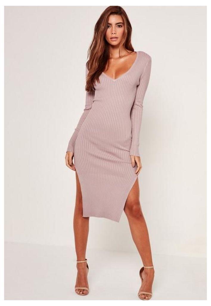 V Neck Side Split Midi Dress Lilac, Mauve