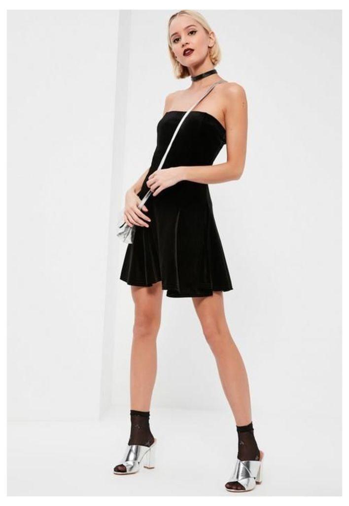 Black Velvet Bandeau Swing Dress, Black
