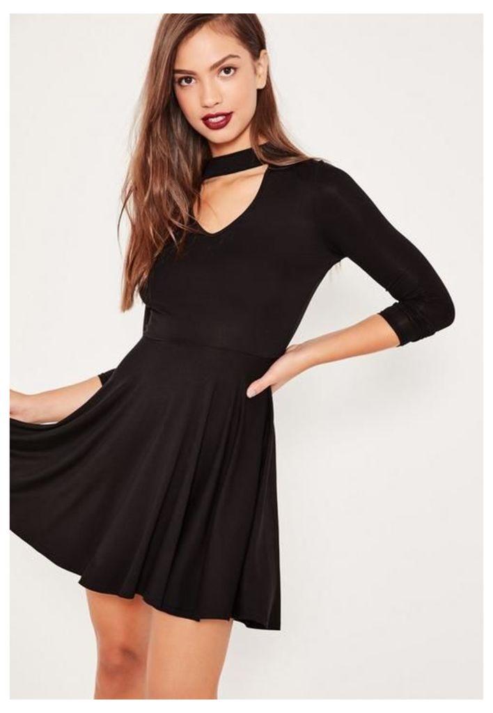 Black Choker Neck Skater Dress, Black