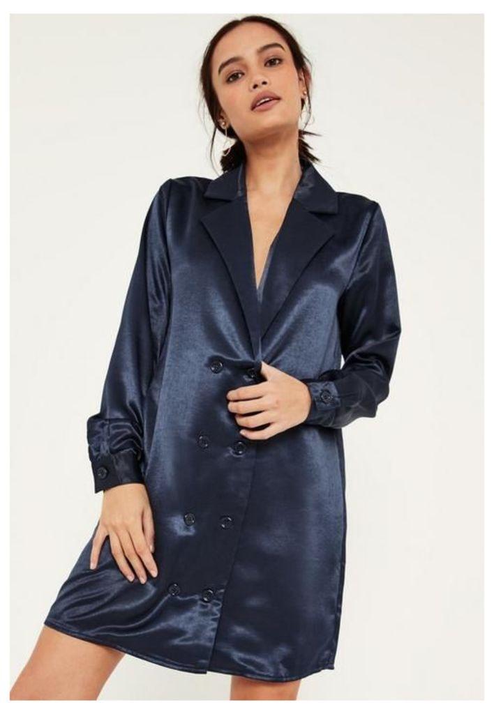 Blue Satin Double Button Curve Hem Dress, Blue