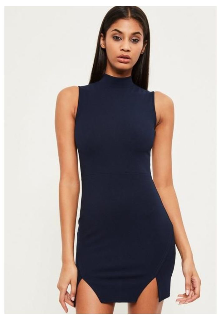 Navy High Neck Double Wrap Bodycon Dress, Blue