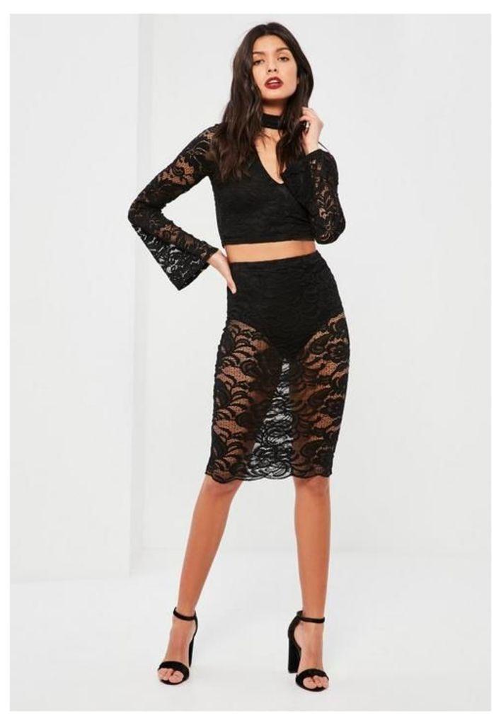 Black Knicker Insert Lace Midi Skirt, Black