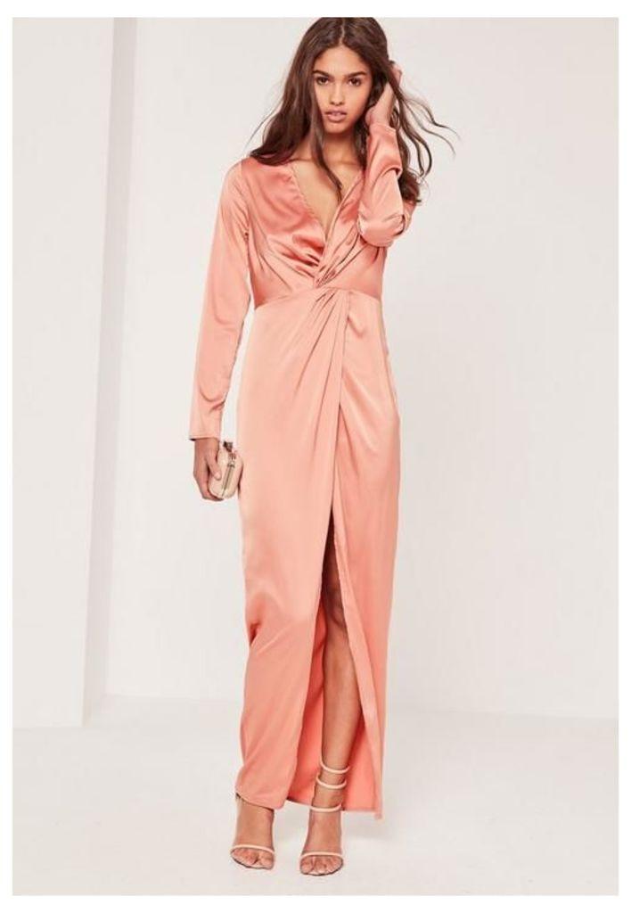Satin Plunge Maxi Dress Pink, Beige