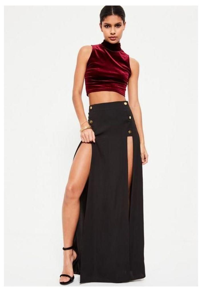 Black Satin Button Detail Maxi Skirt, Black