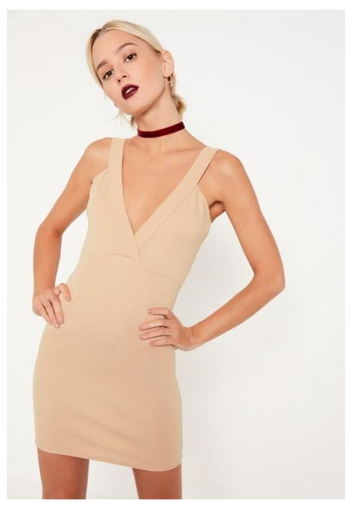 Petite Nude Ponte Plunge Bodycon Dress, Beige