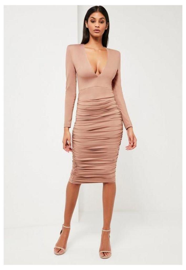 Nude Ruched Plunge Neck Midi Dress, Mauve