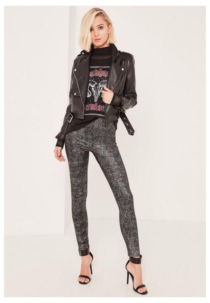 Grey Metallic Glitter Fleck Leggings, Black