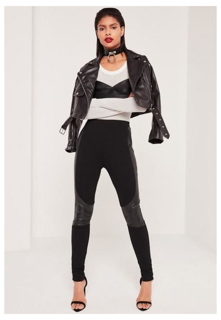Faux Leather Panel Ponte Leggings Black, Black