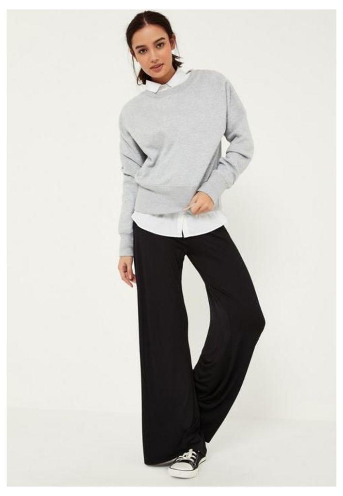 Black Jersey Casual Wide Leg Trousers, Black