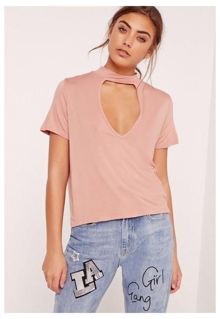 Choker Neck T Shirt Pink, Pink