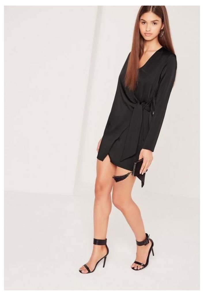 Silky Wrap Tie Waist Shirt Dress Black, Black