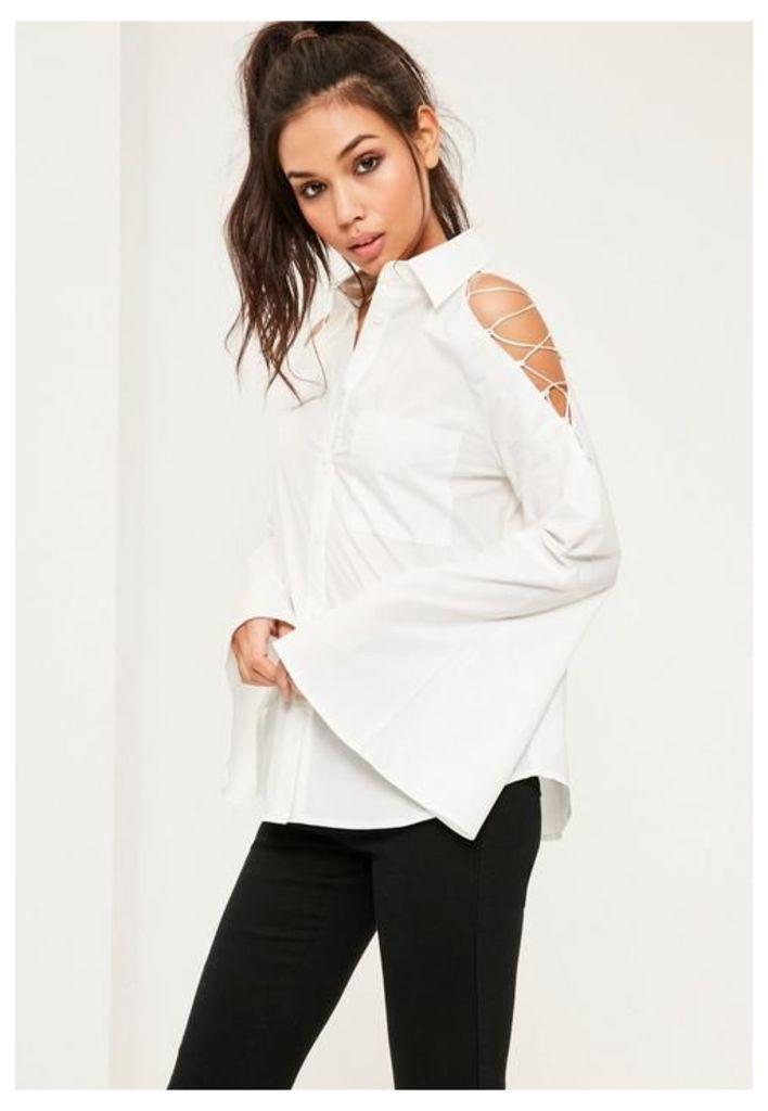 White Lace Up Sleeve Shirt, White