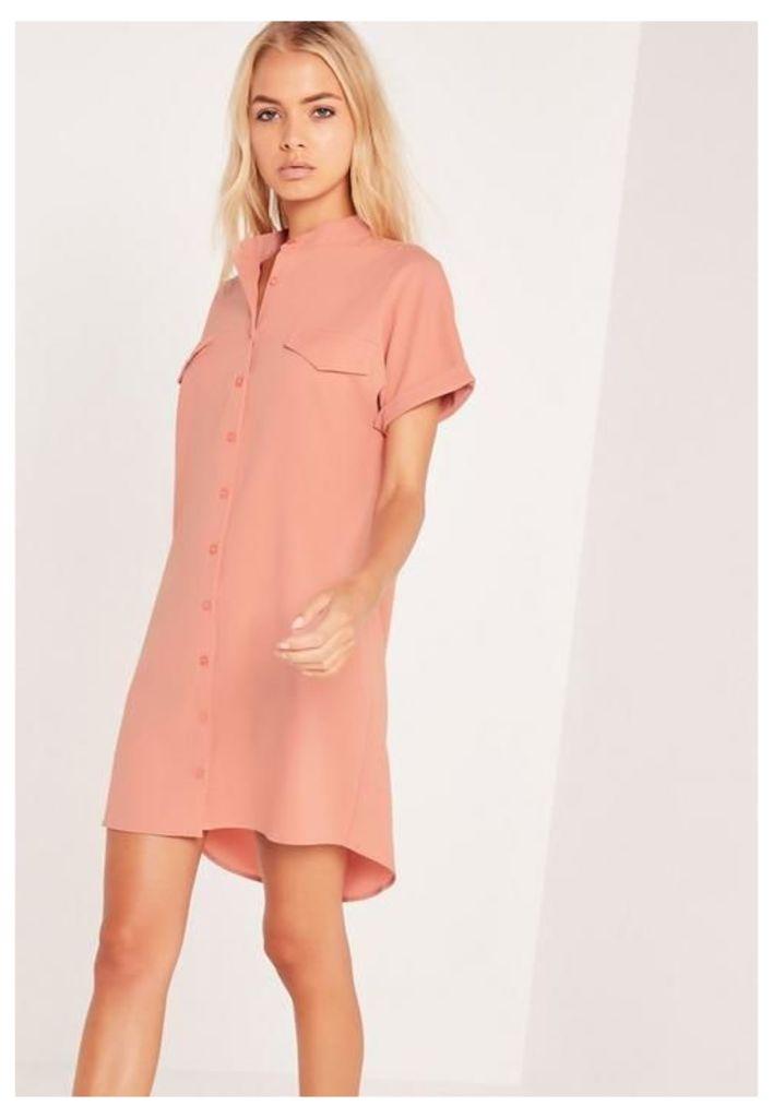 Short Sleeve Pocket Shirt Dress Nude, Mauve
