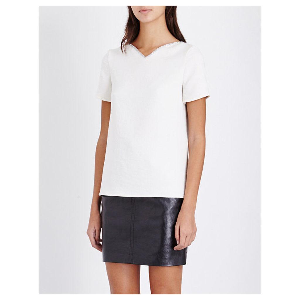 Maje Embellished V-Neck Crepe Top, Women's, Size: Small, White