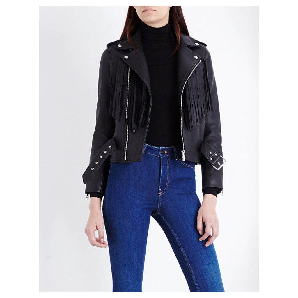 Maje Fringed Leather Biker Jacket, Women's, Size: 10, Black