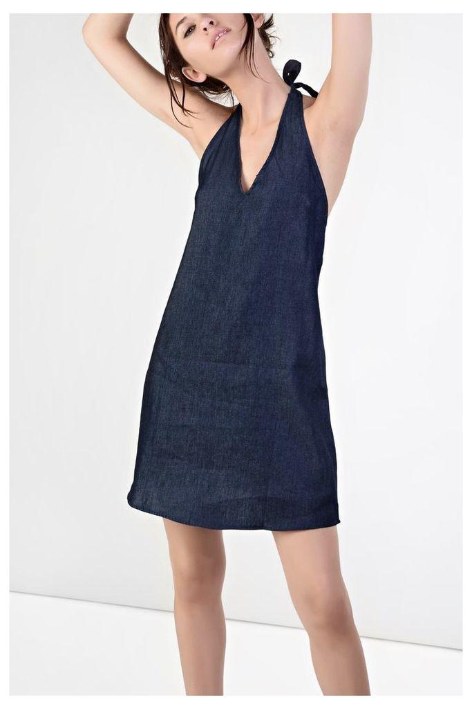 Dark Blue Chambray Denim Halterneck Dress