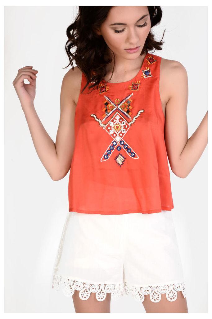 Orange Embroidered Vest Top