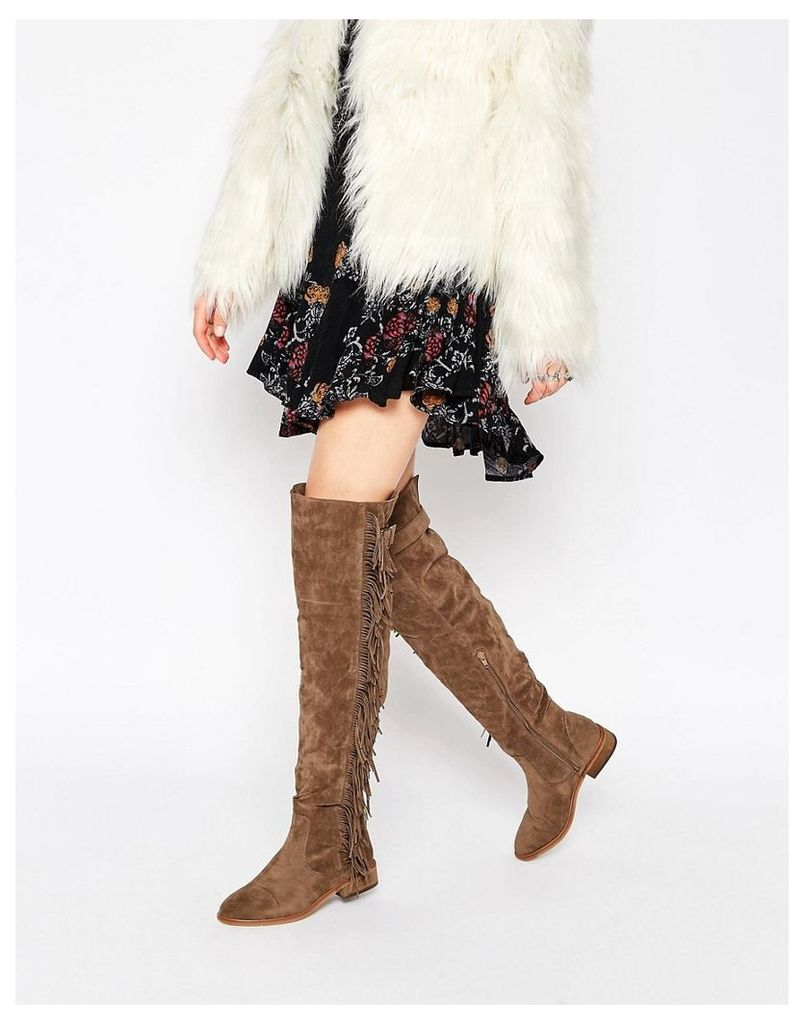 Truffle Collection Orla Fringe Over The Knee Boots - Taupe suedette