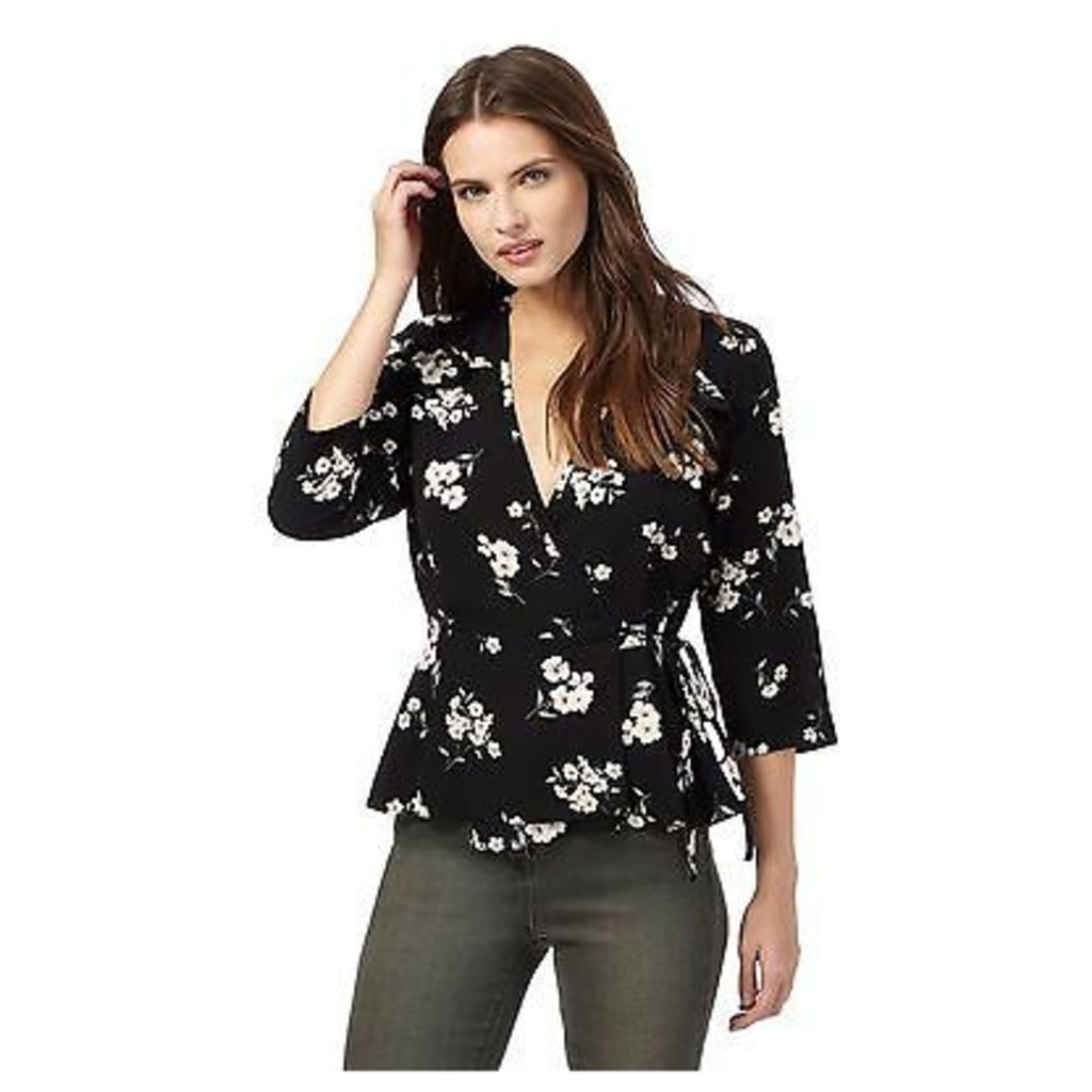 Red Herring Womens Black Floral Print Wrap Top From Debenhams
