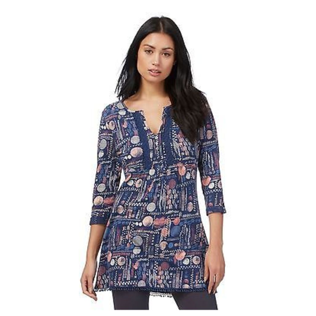 Mantaray Womens Dark Blue Dot Print Tunic Shirt From Debenhams