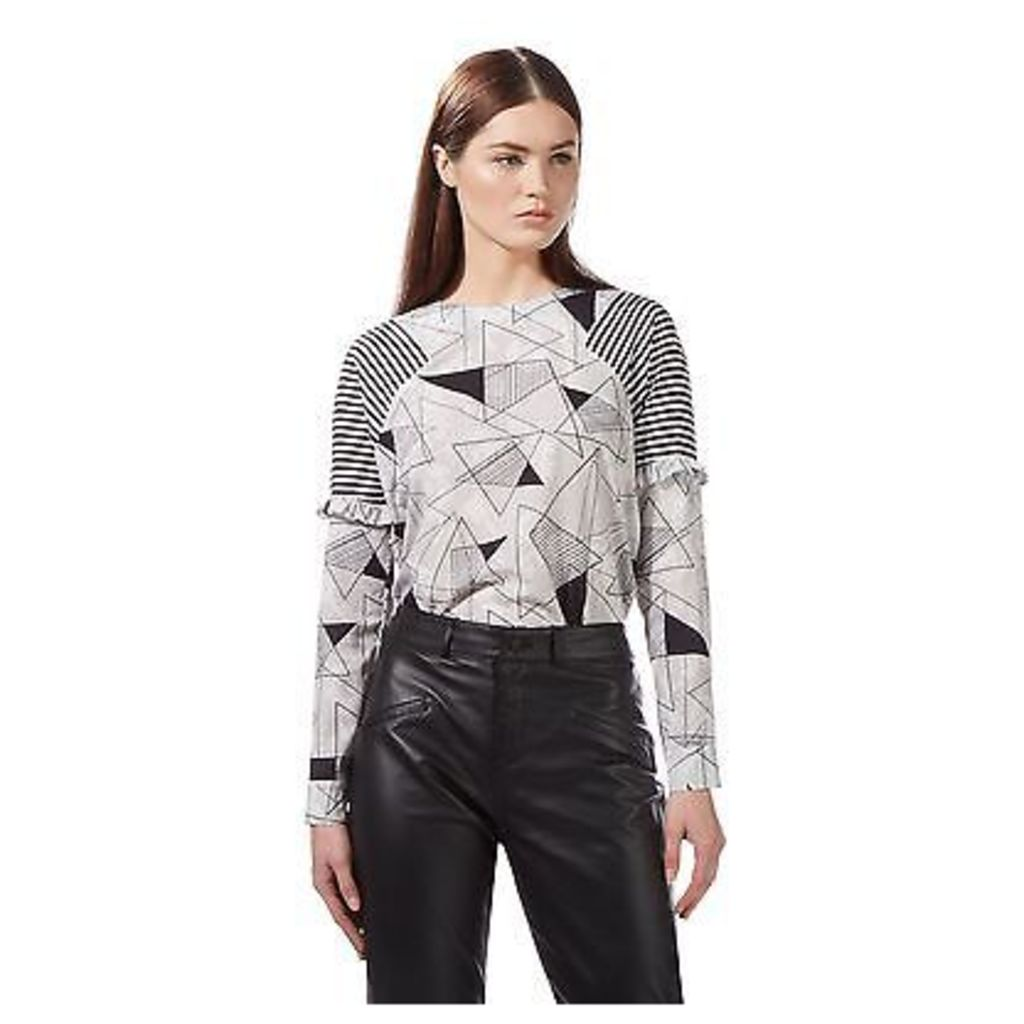 Preen/Edition Womens Ivory Long Sleeved Triangle Print Top From Debenhams