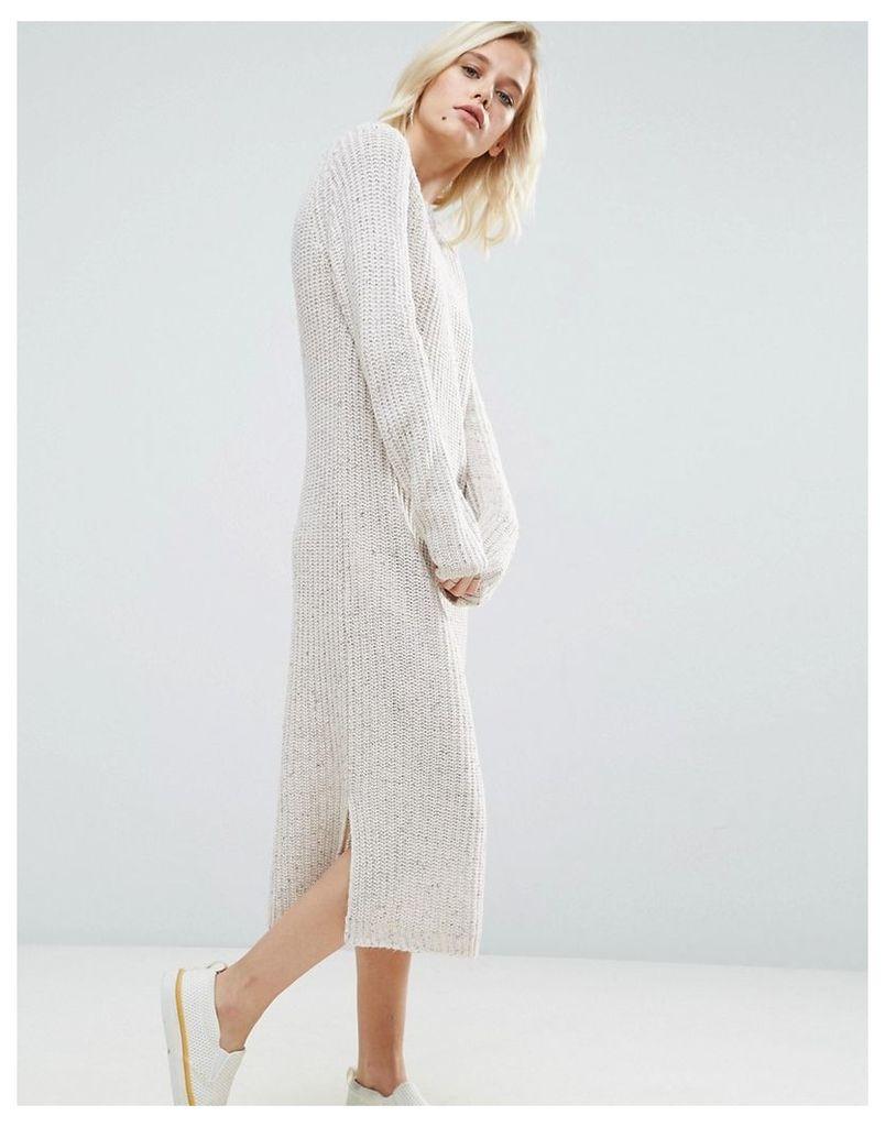 ASOS Midi Dress in Chunky Knit - Oatmeal