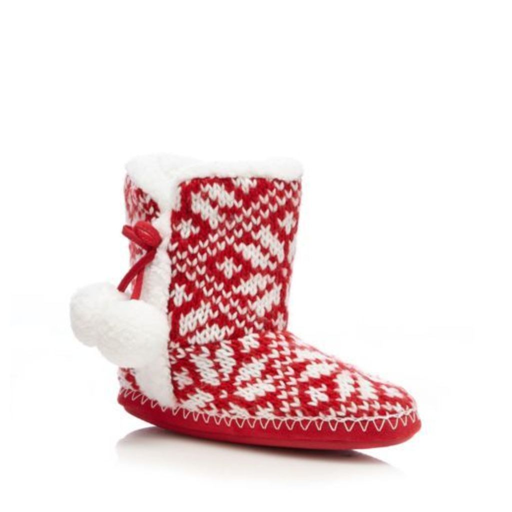 Lounge & Sleep Womens Red Fair Isle-Inspired Slipper Boots From Debenhams