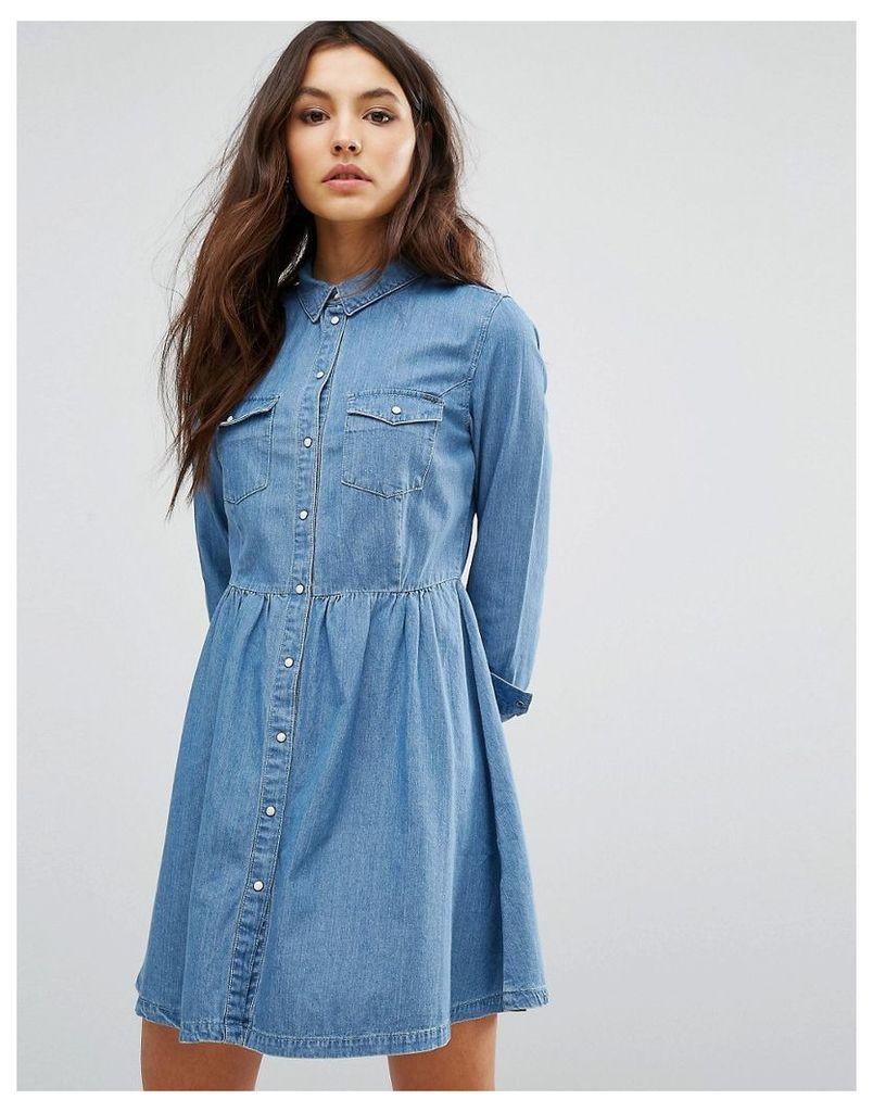 Only Denim Button Skater Dress - Light blue