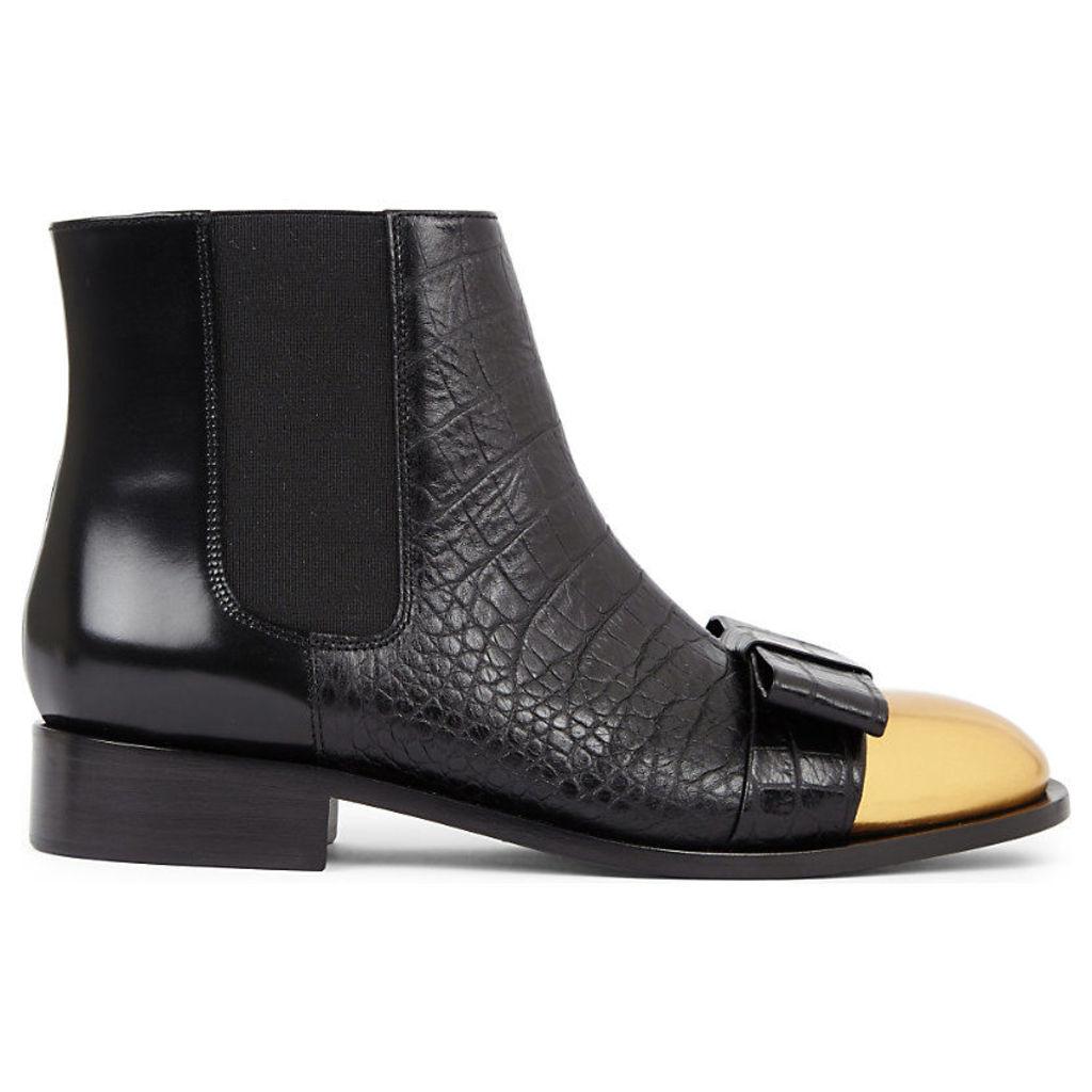 MARNI Metallic-toe leather ankle boots, Women's, Size: EUR 38 / 5 UK Women, Black+oro Sabbia