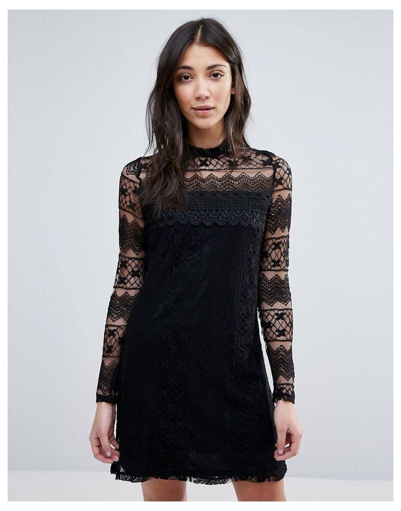 Vila High Neck Long Sleeve Dress - Black