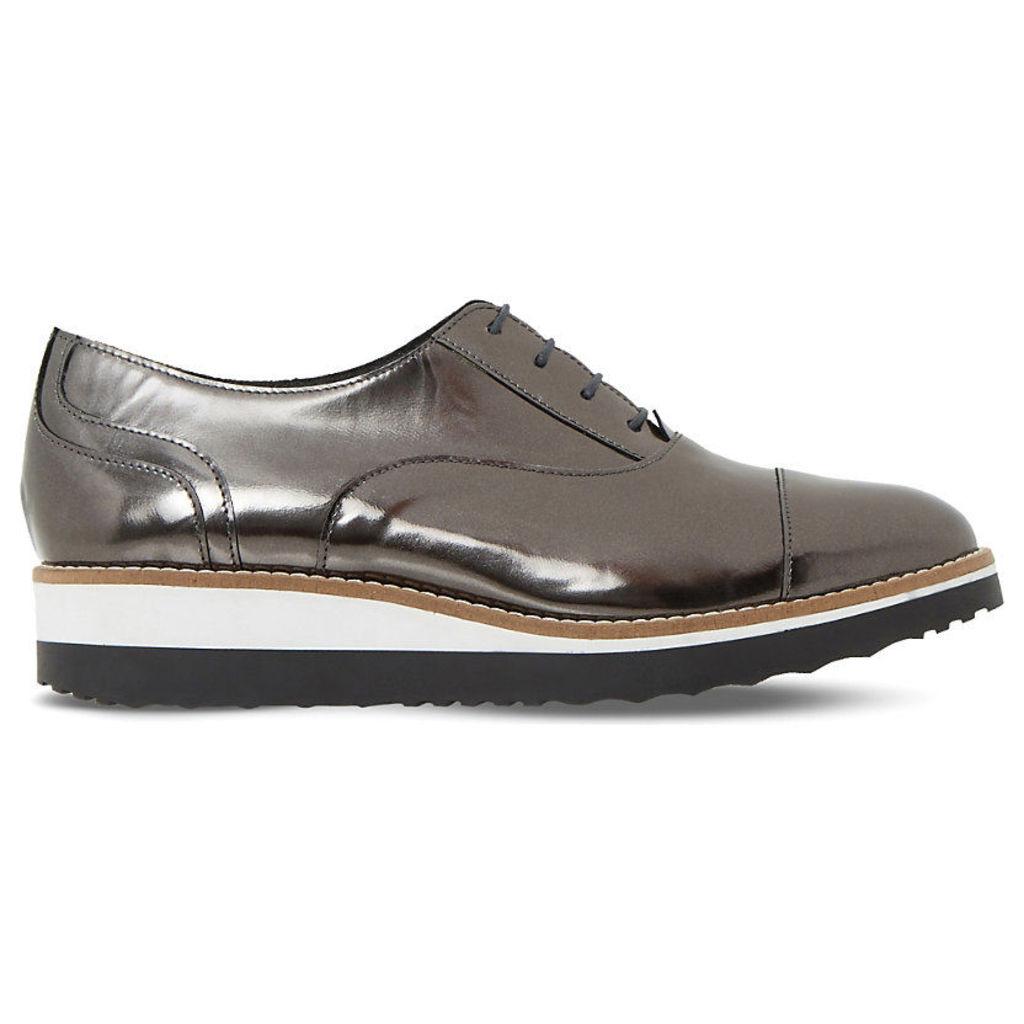 DUNE Furley metallic-leather flatforms, Women's, Size: EUR 38 / 5 UK Women, Pewter-Metallic