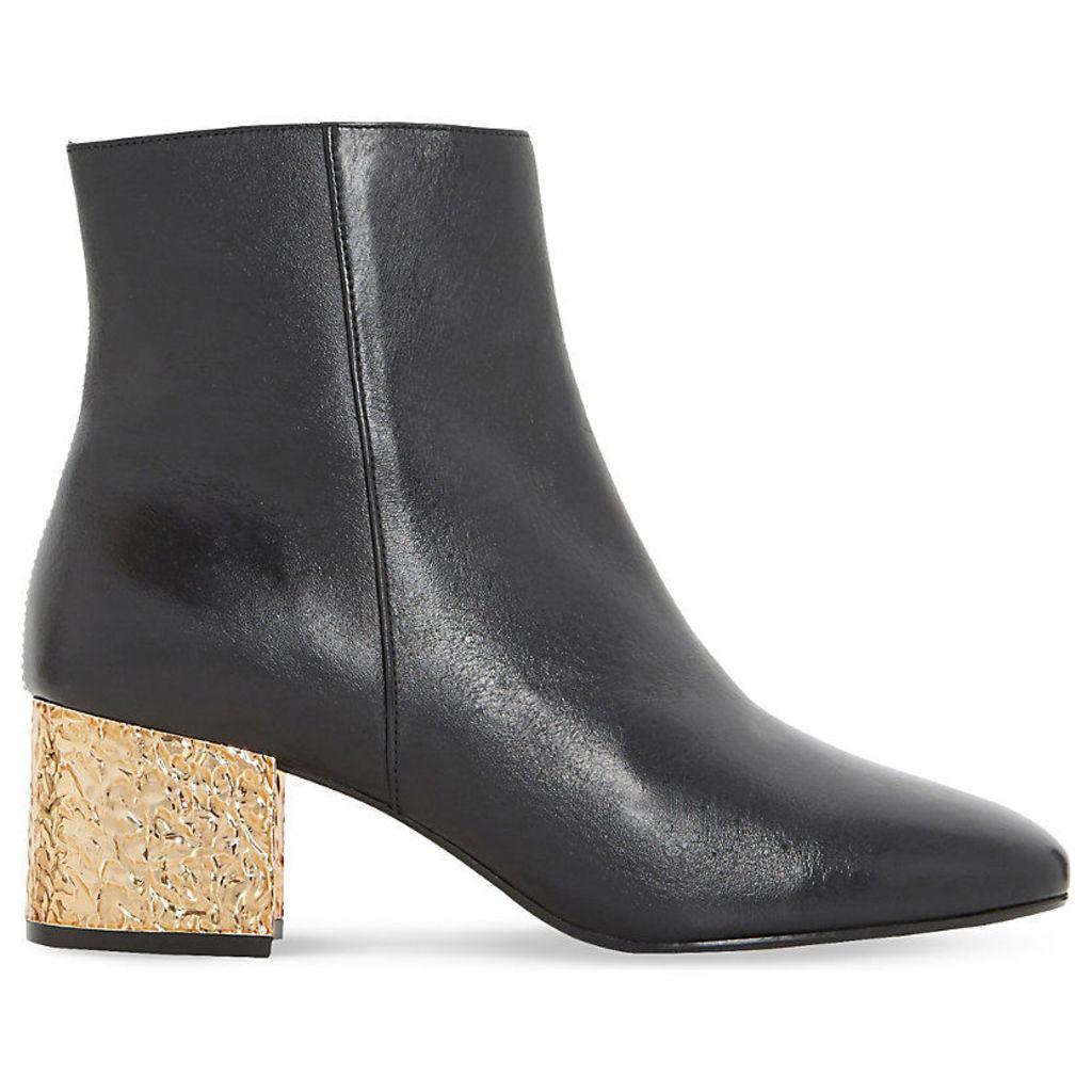 DUNE Oxbow metallic leather ankle boots, Women's, Size: EUR 38 / 5 UK Women, Black-Leather
