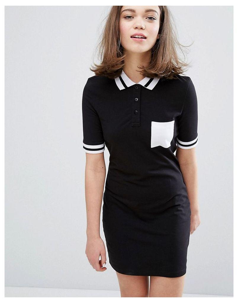 Monki Contrast Polo Neck Dress - Black