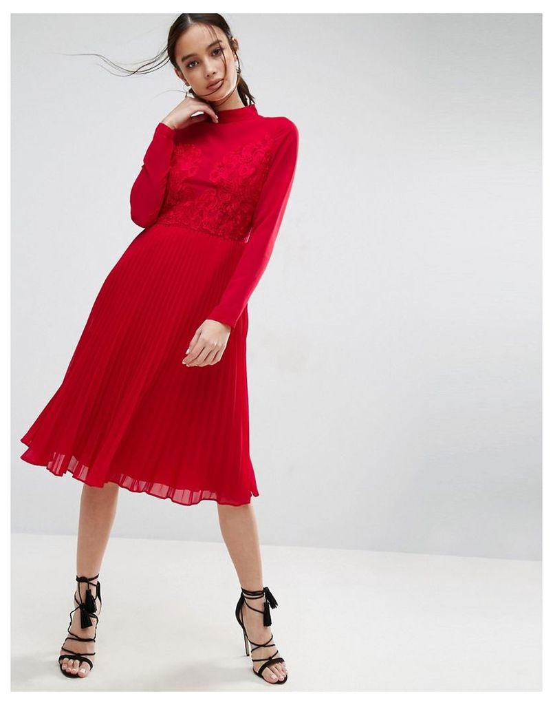 ASOS High Neck and Lace Insert Pleated Midi Dress - Red
