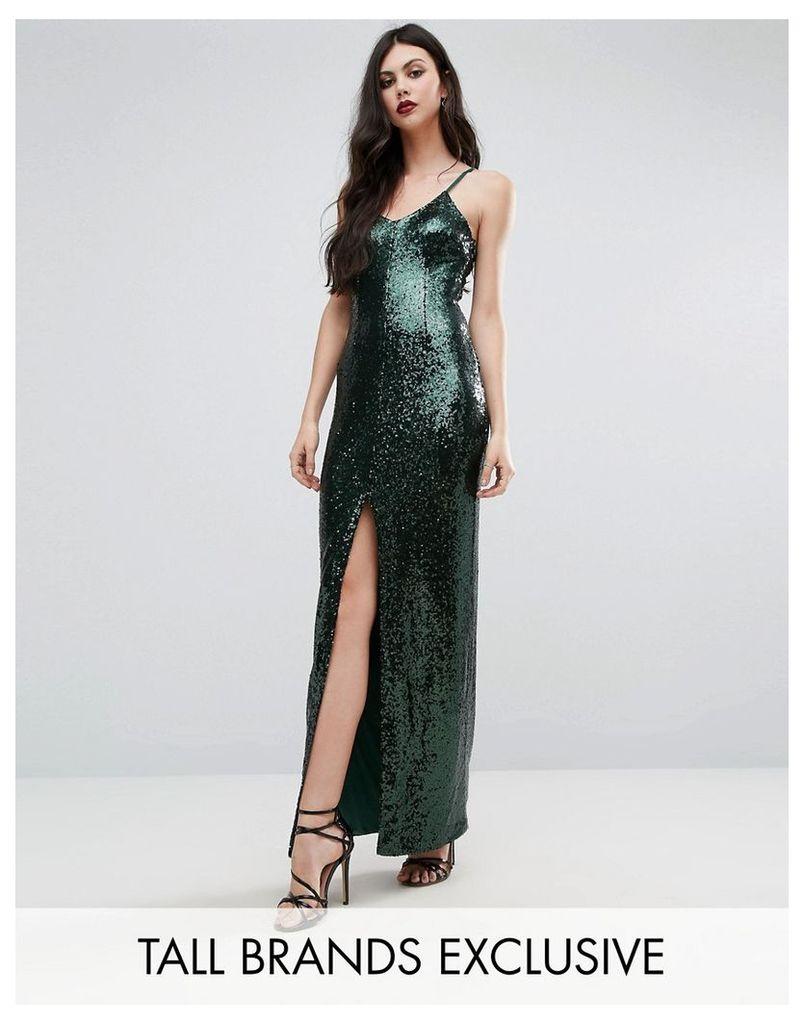 Naanaa Tall Allover Sequin Cross Back Maxi Dress - Green