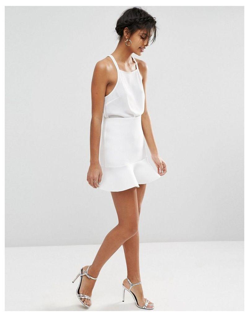 ASOS Scuba Mini Skirt with Pep Hem - White
