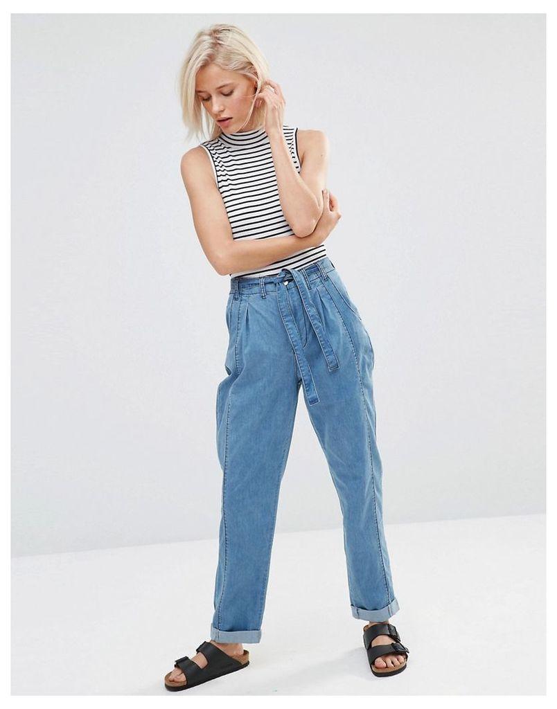 Minkpink In A Daze Denim Trousers - Indigo blue