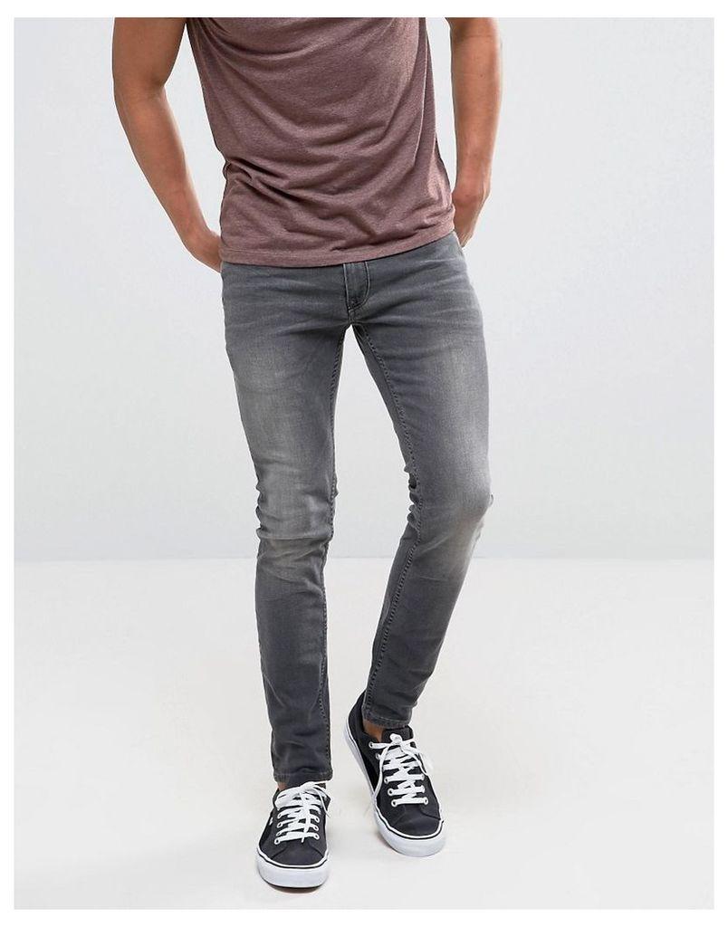 Burton Menswear Superskinny Black Washed Jeans - Black