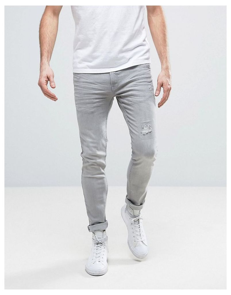Redefined Rebel Skinny Fit Jeans in Grey With Distressing - Bleached grey