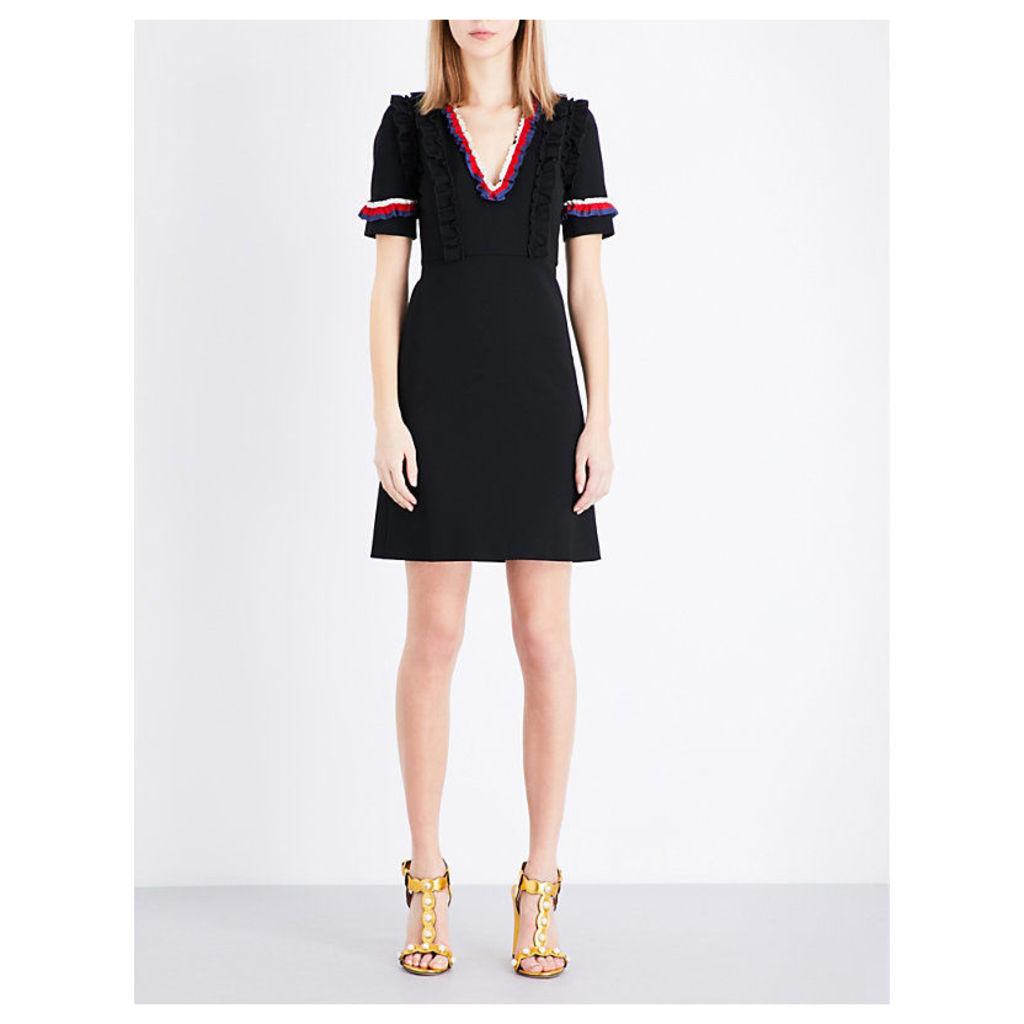 GUCCI Ruffled-trims stretch-crepe dress, Women's, Size: XL, Black/B/R/W