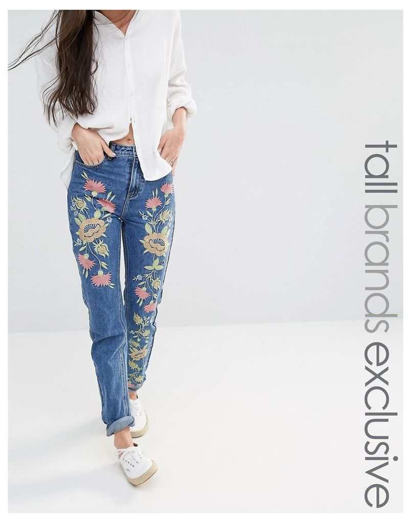 Glamorous Tall Boyfriend Jean With Floral Embroidery - Blue