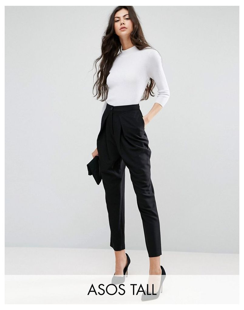 ASOS TALL Tailored Peg Trousers with Wrap Leg - Black