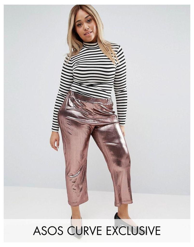 ASOS CURVE Crop Trouser In Metallic Plisse - Rose gold